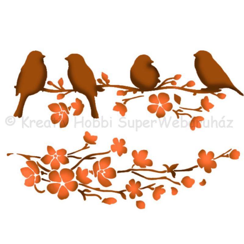 Stencil G, 21 x 29,7 cm - madárkák az ágon