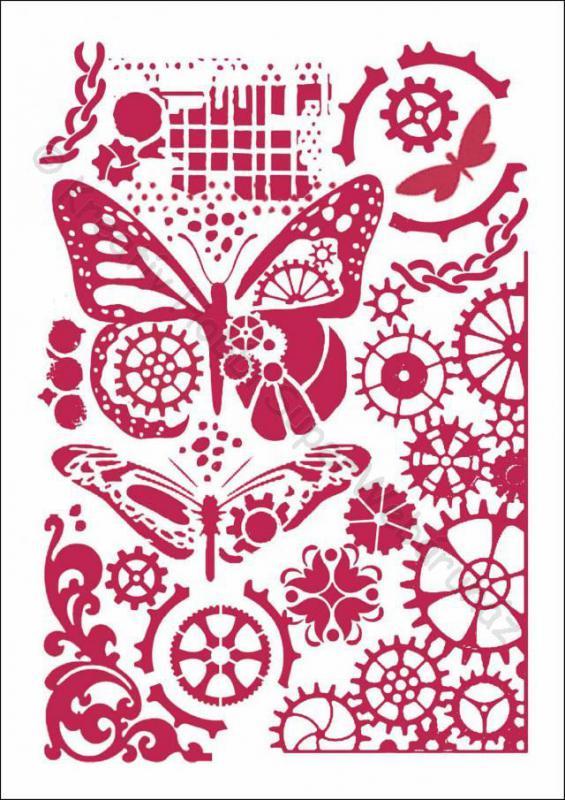 Stencil G, 21 x 29,7 cm - Pillangók és fogaskerekek - Steampunk