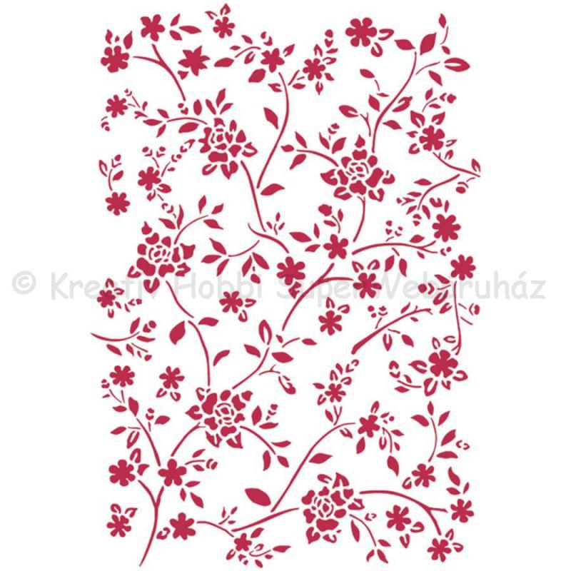 Stencil G, 21 x 29,7 cm - rózsás textúra