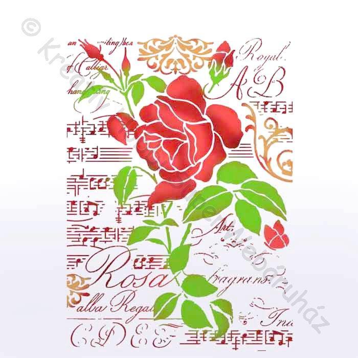 Stencil G, 21 x 29,7 cm - zene és rózsa