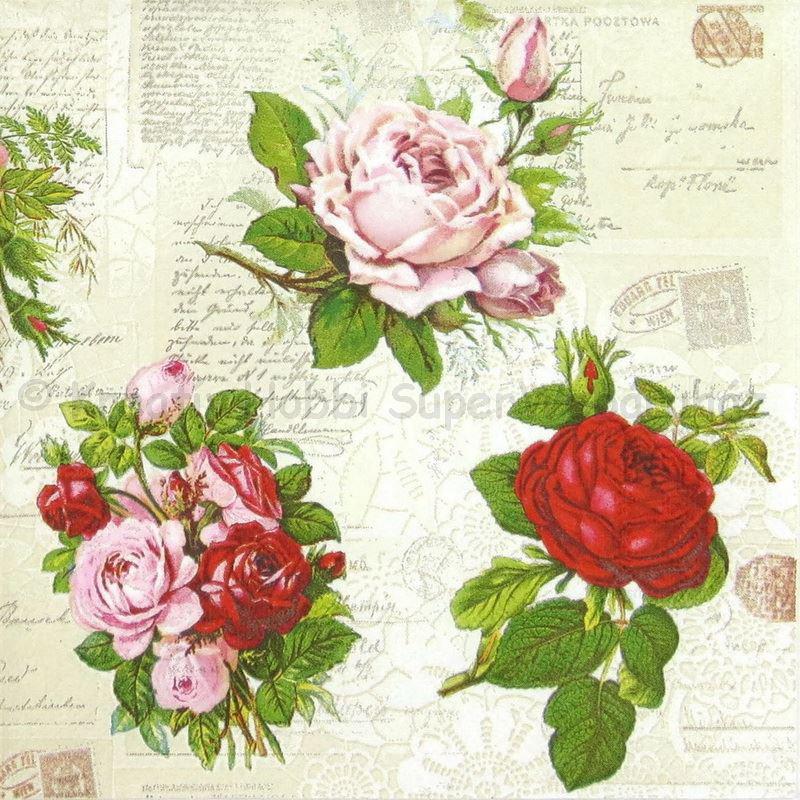 Szalvéta - angol rózsák