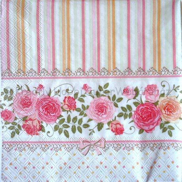 Szalvéta - angol rózsák szalagon