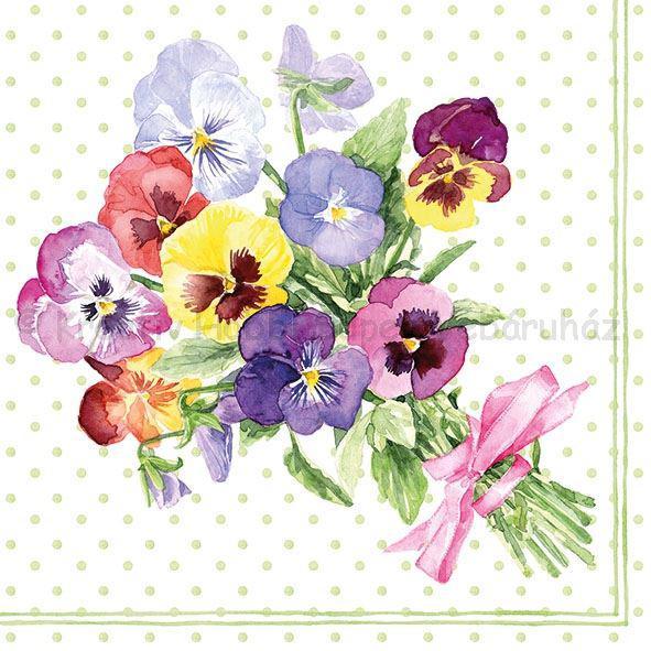 Szalvéta - árvácska - Bunch of Violets Green