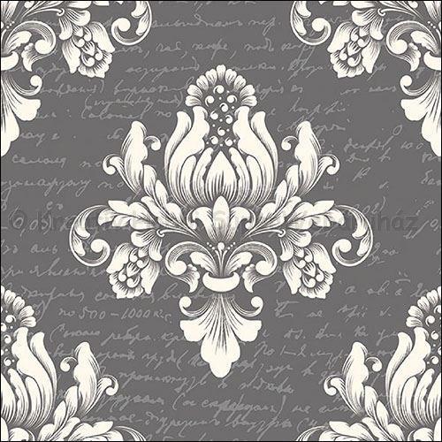 Szalvéta - barokk minta, szürke - Barok Grey
