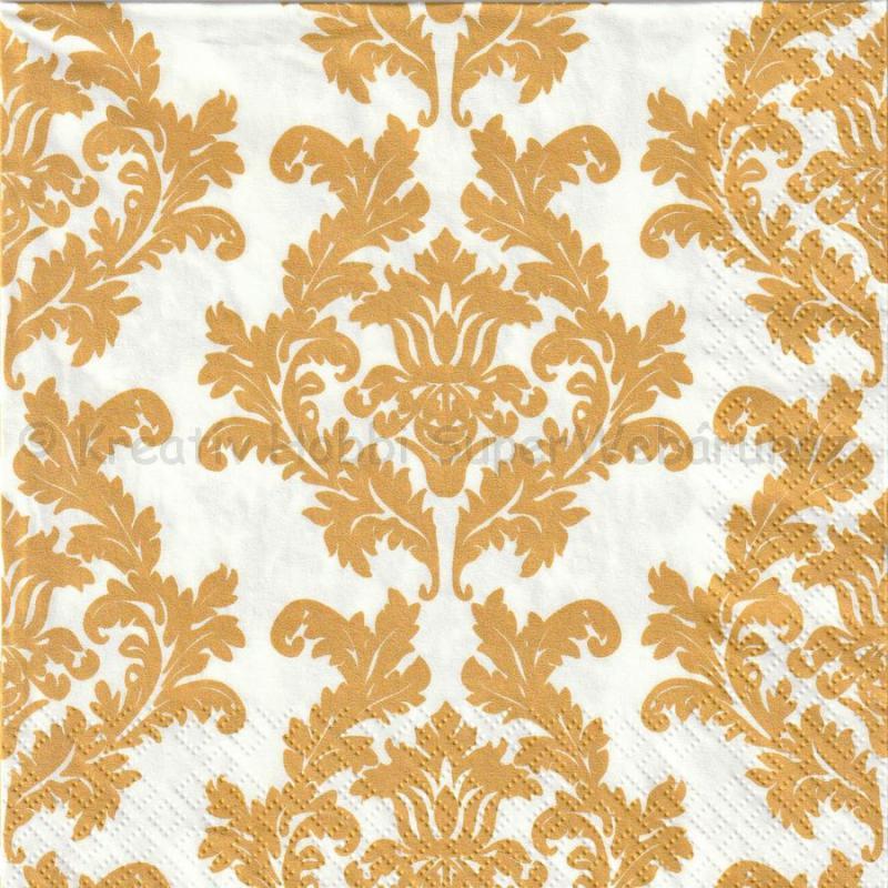 Szalvéta - barokk tapétaminta fehér -arany
