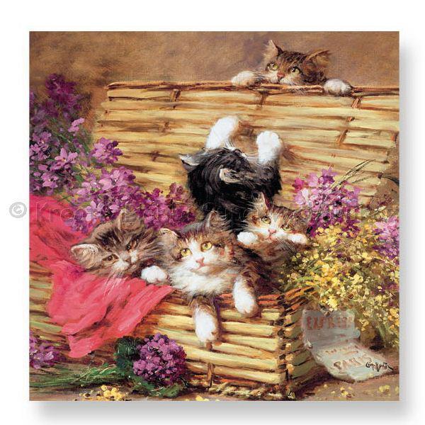Szalvéta - cicák kosárban