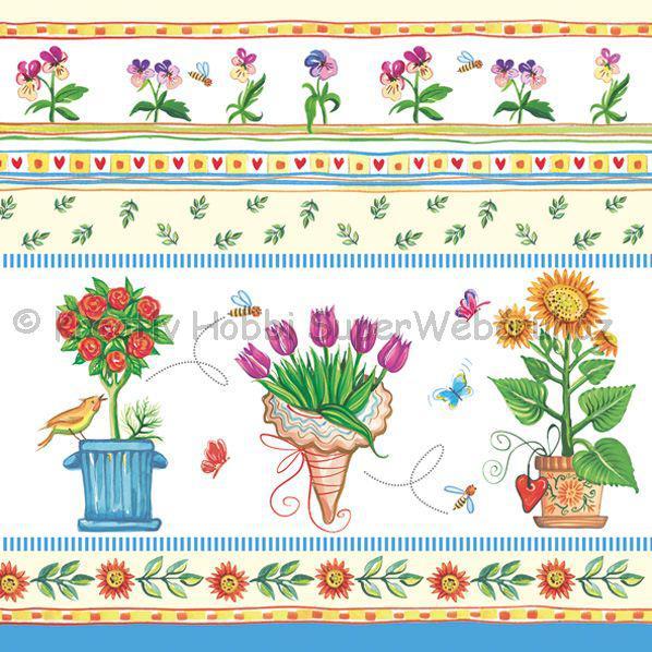 Szalvéta - cserepes virágok