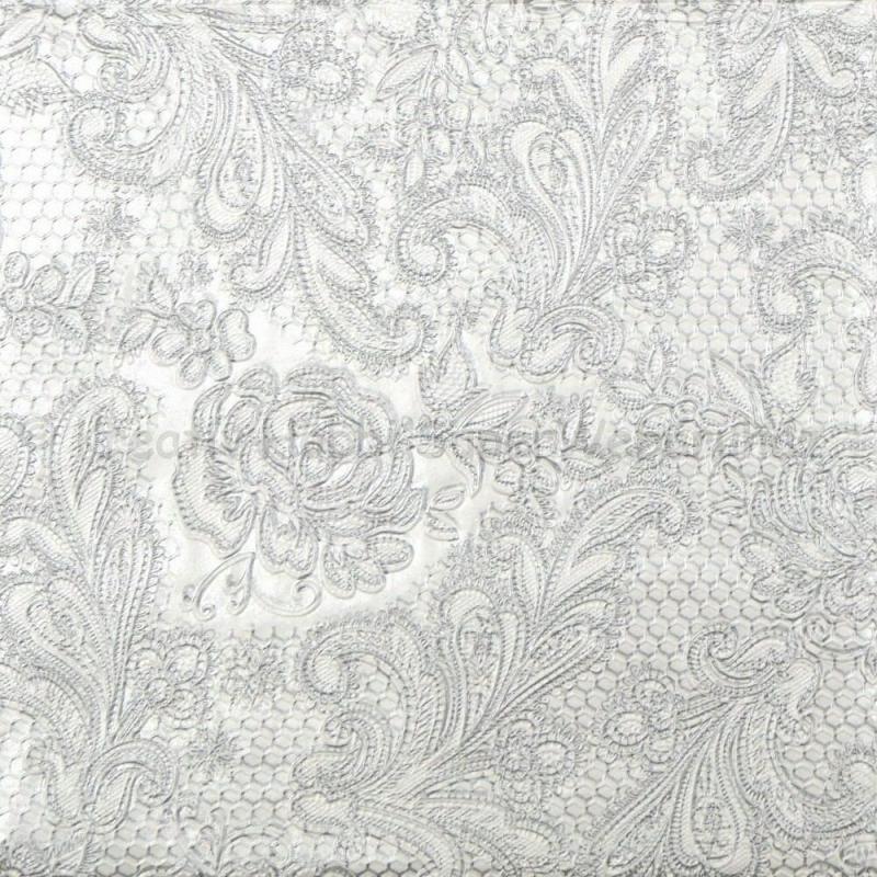 Szalvéta - csipke domborított, fehér-ezüst - Lace Royal pearl silver