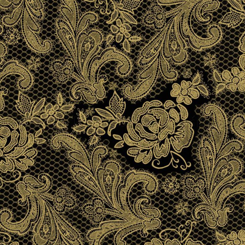 Szalvéta - csipke domborított, fekete-arany - Lace Royal black gold