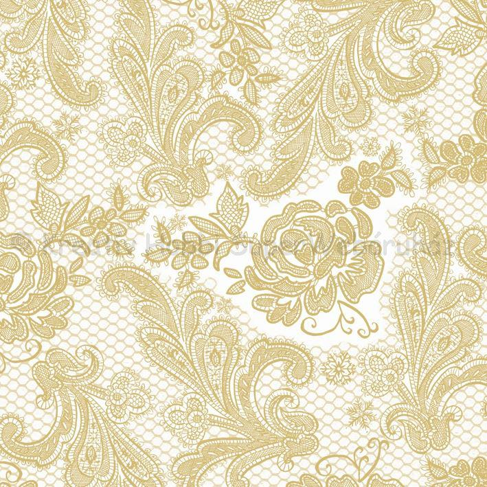 Szalvéta - csipke domborított, gyöngyház-arany - Lace Royal pearl gold