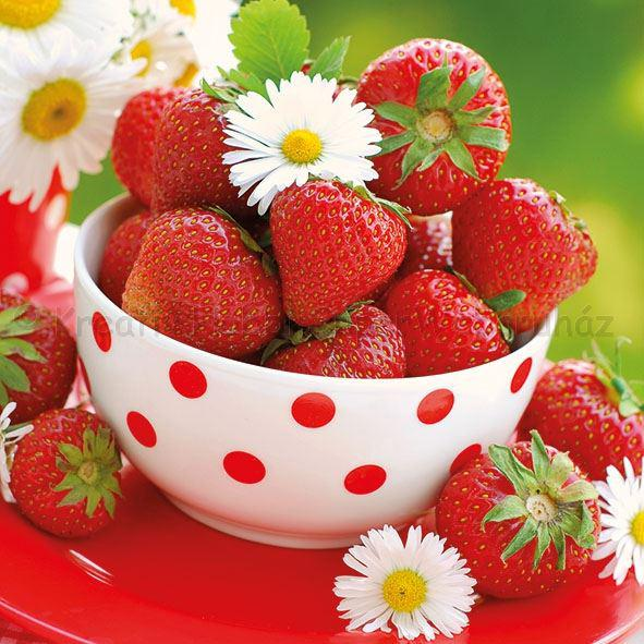 Szalvéta - eper tálban - Strawberries In Bowl