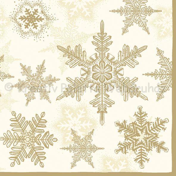 Szalvéta - hópehely, arany