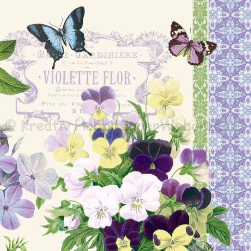 Szalvéta - ibolya - Vintage Violets