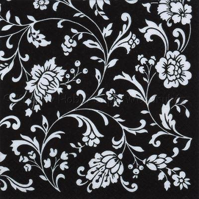 Szalvéta - indás-virágos fekete-fehér