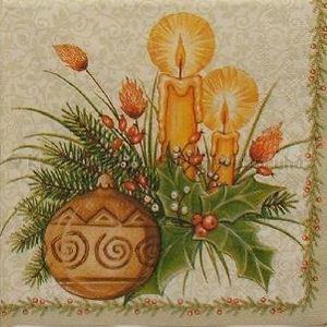 Szalvéta - karácsonyi dísz gyertyával