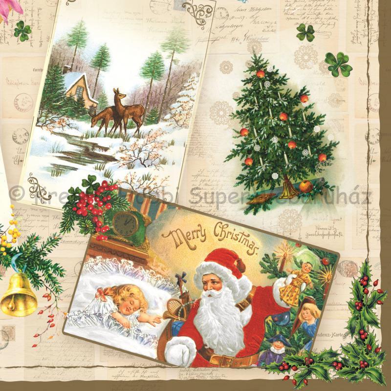 Szalvéta - karácsonyi üdvözlőlapok