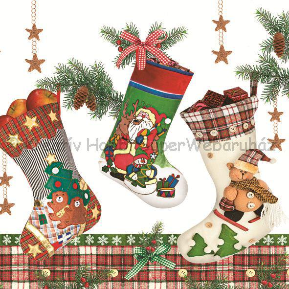 Szalvéta - karácsonyi zoknik