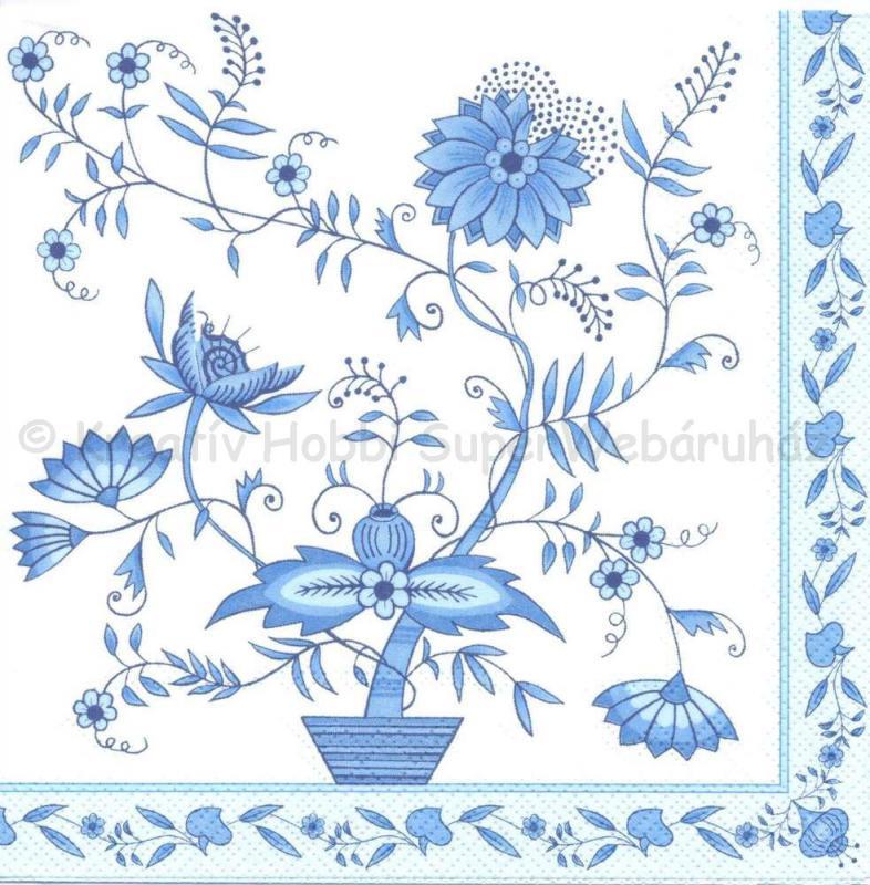 Szalvéta - kék virágos