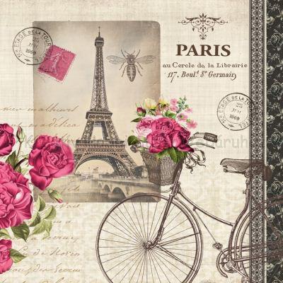 Szalvéta - Párizs, Eiffel torony, kerékpár