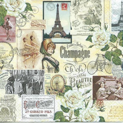 Szalvéta - Párizs, Eiffel torony, régi idők