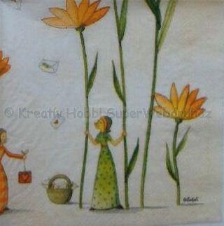 Szalvéta - pillangók, virágok