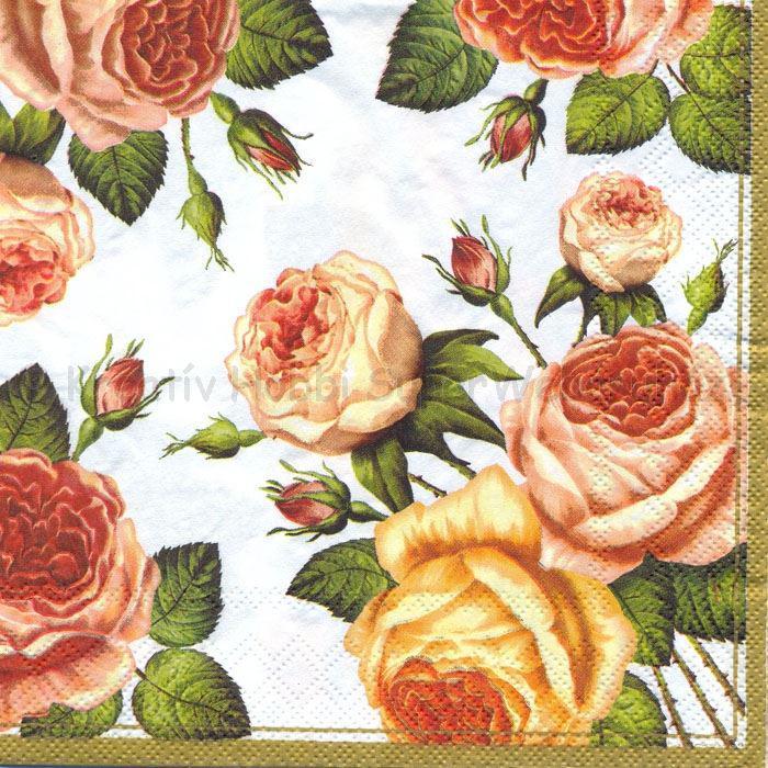 Szalvéta - rózsák fehér alapon