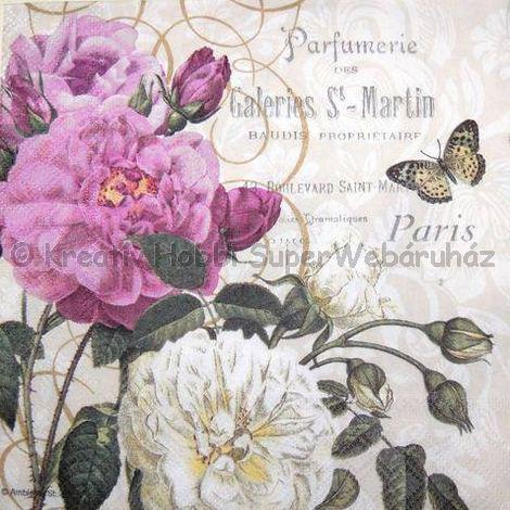 Szalvéta - rózsák lepkével