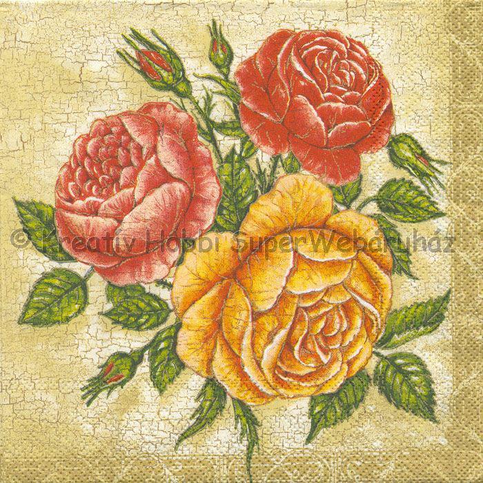 Szalvéta - rózsák repedezett alapon