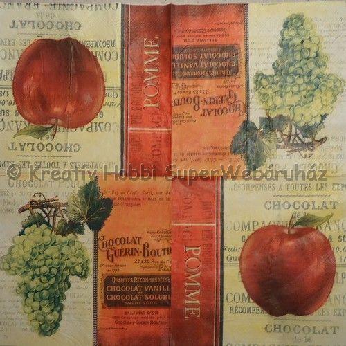 Szalvéta - szőlő, alma