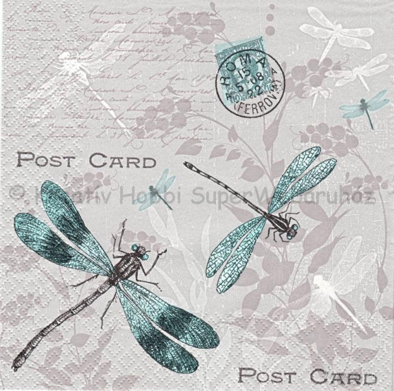 szalvéta - vintage szitakötők képeslapon