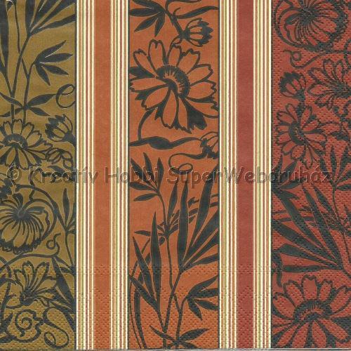 Szalvéta - virágos, terrakotta