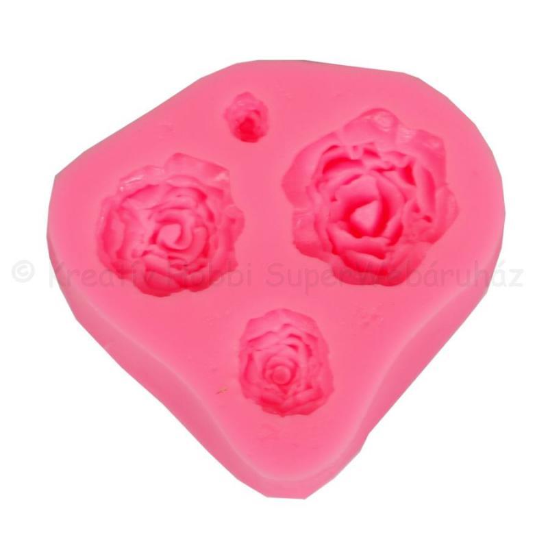 Szilikon öntőforma - 4 rózsa