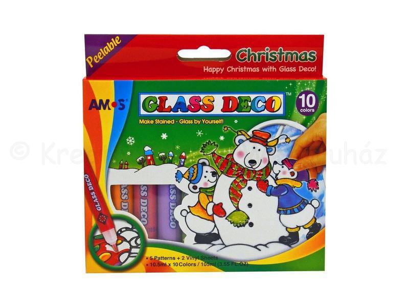Üvegmatrica festék készlet 10 szín - karácsony