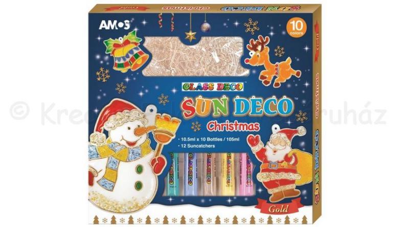 Üvegmatrica festék szett 10 x 10,5 ml + 12 db fényvarázs - karácsony