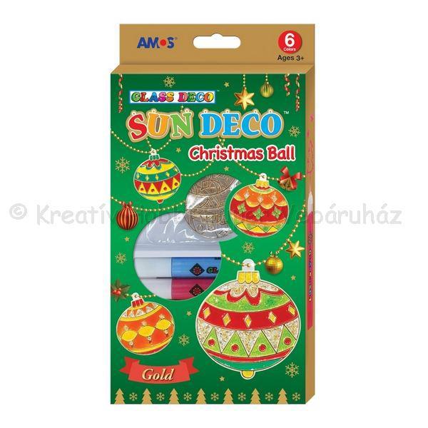 Üvegmatrica festék szett 6 x 10,5 ml + 6 db fényvarázs - karácsonyi gömbök
