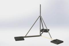 """Antenna-árboc tartó lapos tetőre betongarnitúra 2m 5/4"""" horg cső"""
