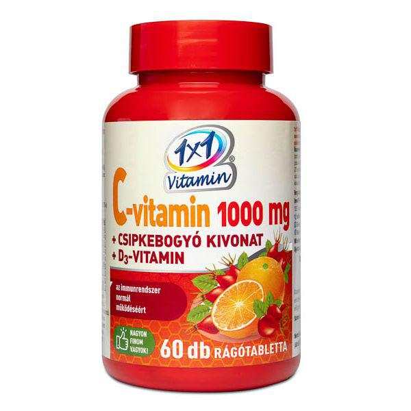 1×1 Vitamin C-vitamin 1000 mg + D3 rágótabletta csipkebogyóval 60 szem