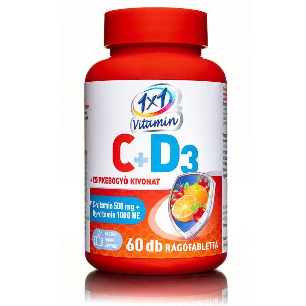 1×1 Vitamin C-vitamin 500 mg + D3-vitamin 1000 NE rágótabletta 60 szem