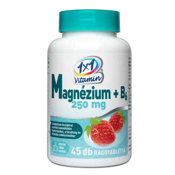 1×1 Vitamin Magnézium 250 mg + B6-vitamin rágótabletta 45 szem