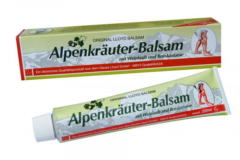 Alpesi gyógynövény balzsam vadgesztenyével és vörösszőlőlevéllel - 200 ml (visszérkrém)