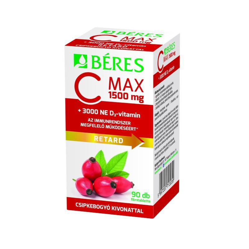 Béres C-vitamin 1500 mg csipkebogyó kivonattal + 3000 NE D3-vitamin retard filmtabletta 90 szem