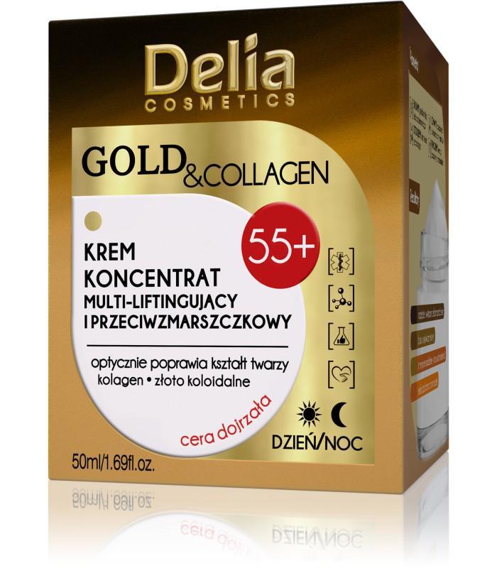 DELIA GOLD & COLLAGEN Ránctalanító feszesítő krém  lifting hatással  argán olajjal55+ 50ml