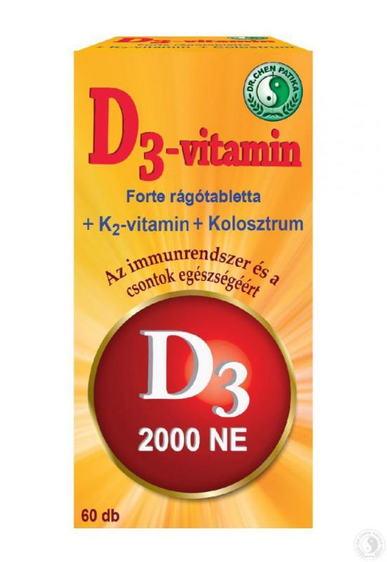 Dr. Chen D3-vitamin Forte ( D-vitamin rágótabletta ) - 60db