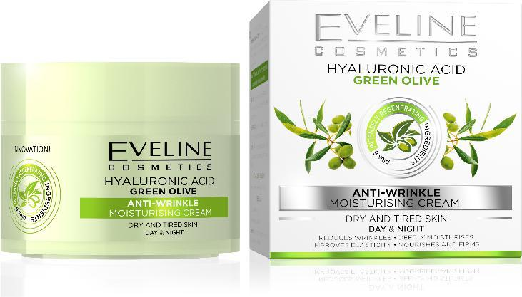 Eveline Hialuronsav, Zöld Olíva hidratáló ránctalanító  50ml