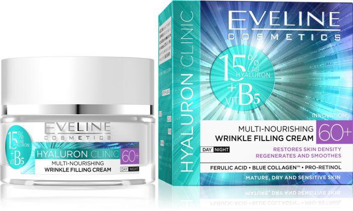 Eveline HYALURON CLINIC 60+ Multi-Tápláló Ráncfeltöltő krém 50 ml