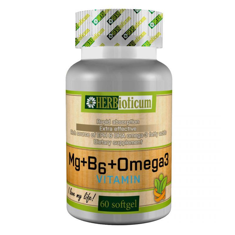 HERBioticum Mg + B6 + Omega3 Vitamin - 60 szem