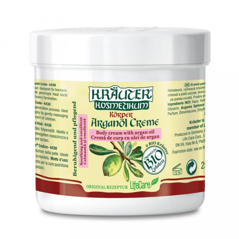 Kräuter ® bőrpuhító testápoló krém, BIO argánolajjal - 250 ml