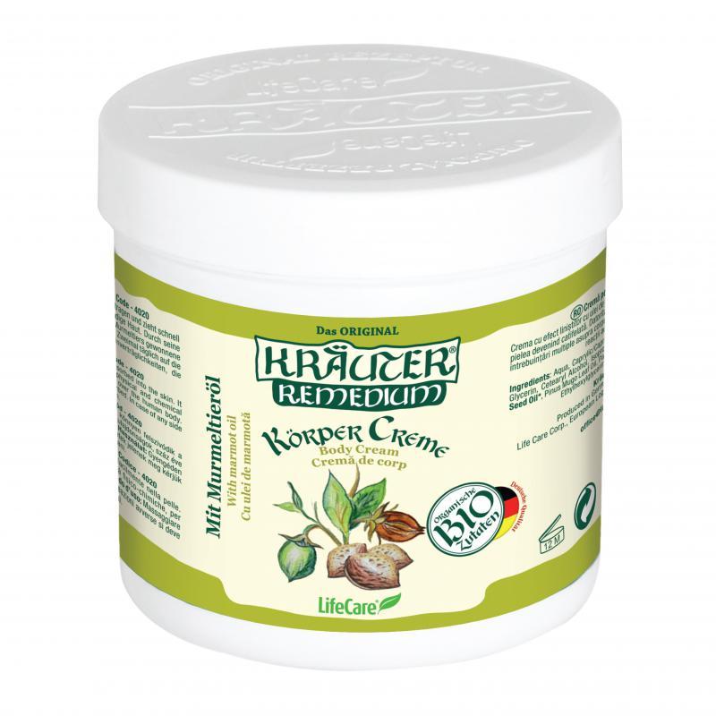 Kräuter® gyulladáscsökkentő testápoló krém, mormotaolajjal és BIO gyógynövényekkel - 250 ml
