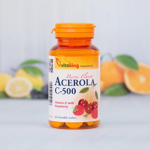 Vitaking Acerola C-vitamin málnás íz 40 rágótabletta