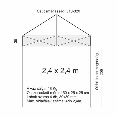 2,4x2,4 Sátor váz (30x30 mm-es lábbal)